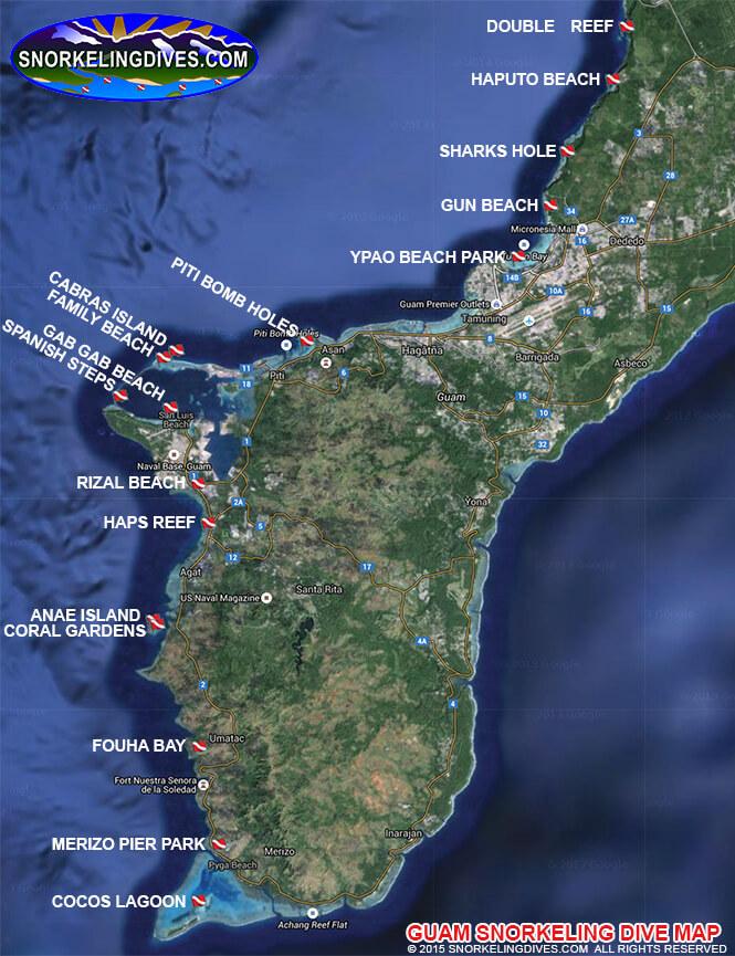 Cabras Island Snorkeling Map
