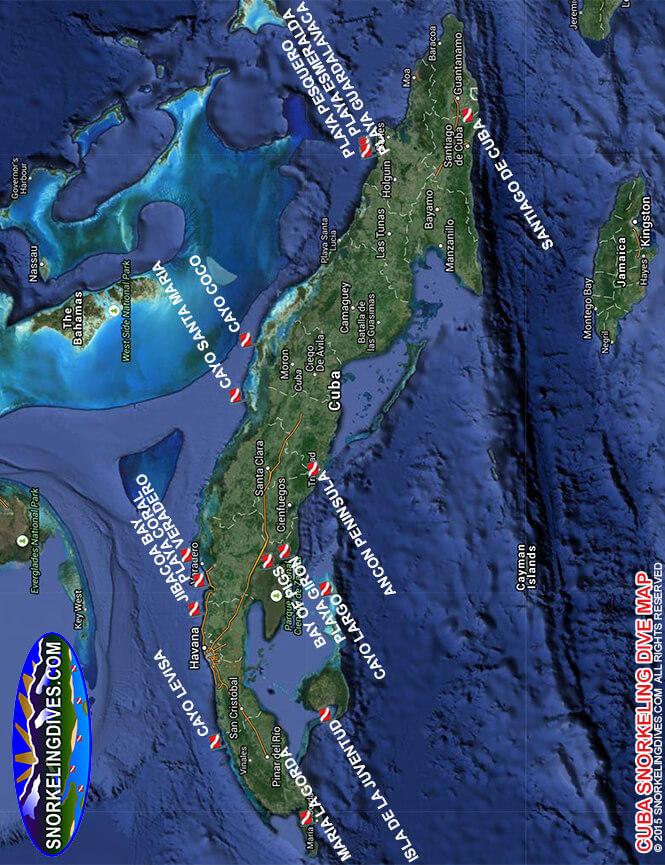Santiago de Cuba Snorkeling Map