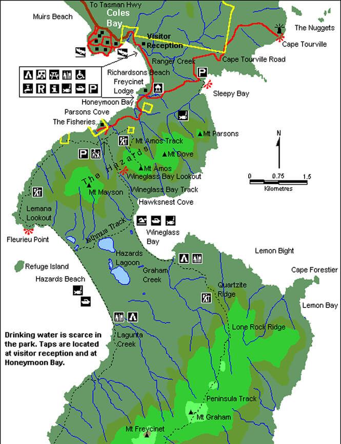 Freycinet National Park Snorkeling Map