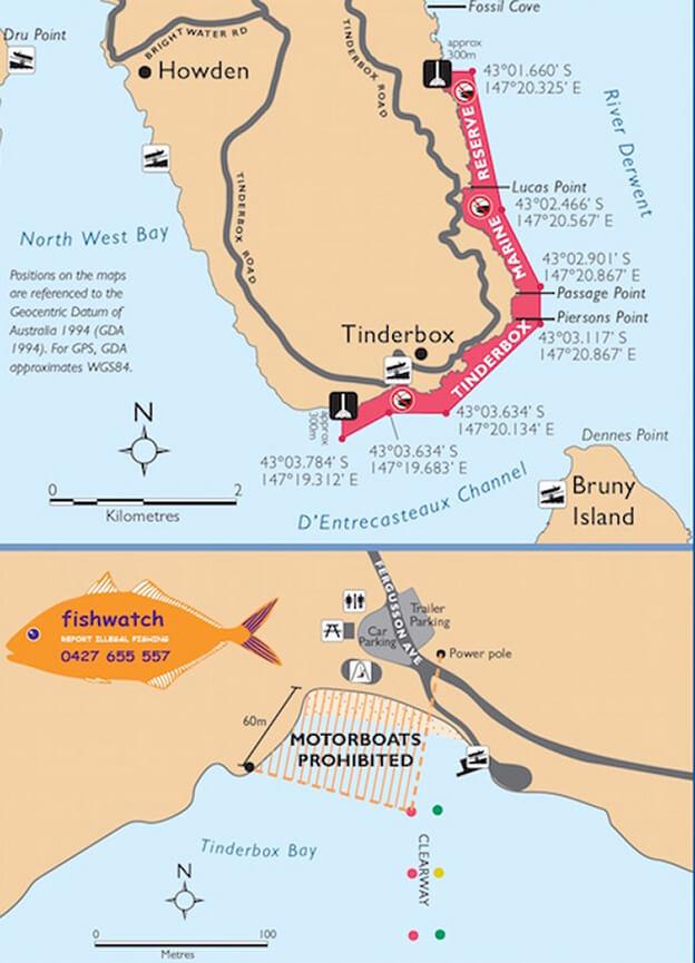 Tinderbox Marine Nature Reserve Snorkeling Map