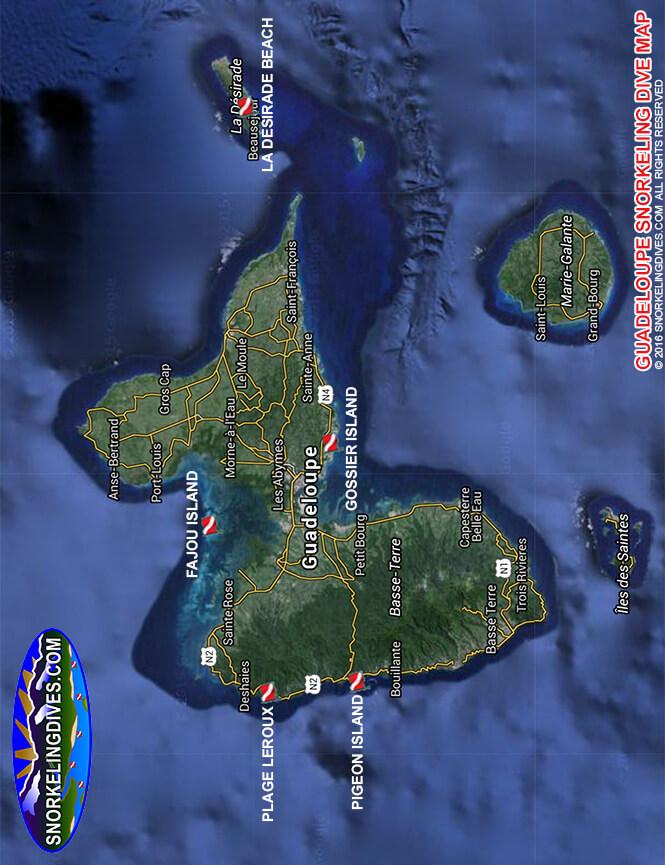 La Desirade Beach Snorkeling Map