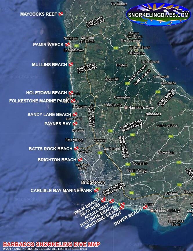 Sandy Lane Beach Snorkeling Map