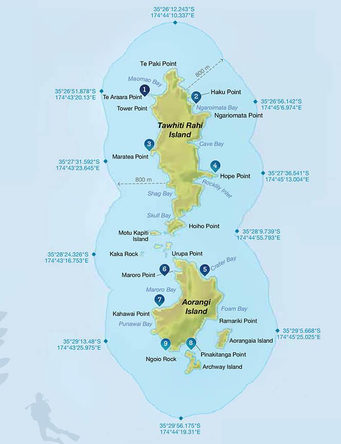 Poor Knights Marine Reserve Snorkeling Map