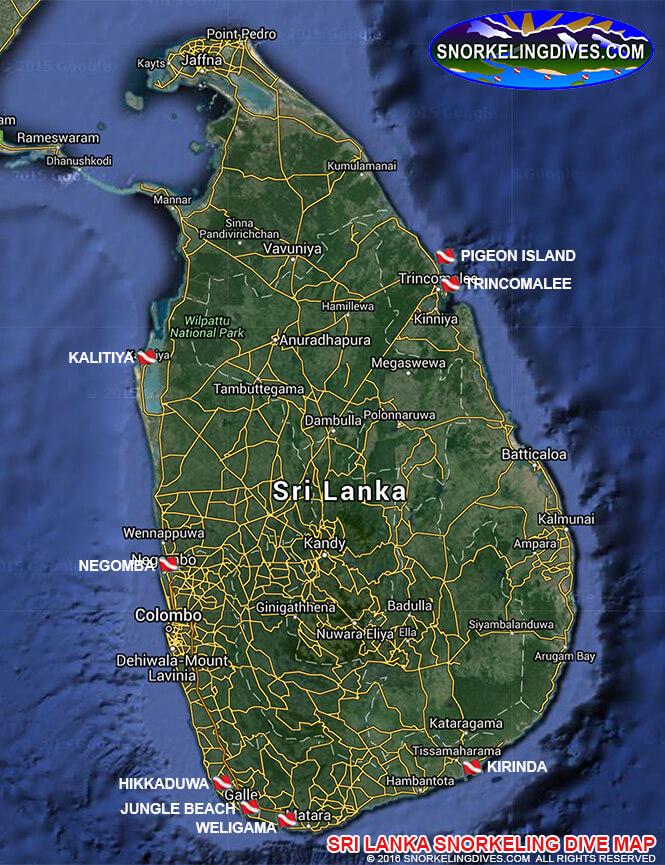 Negombo Snorkeling Map