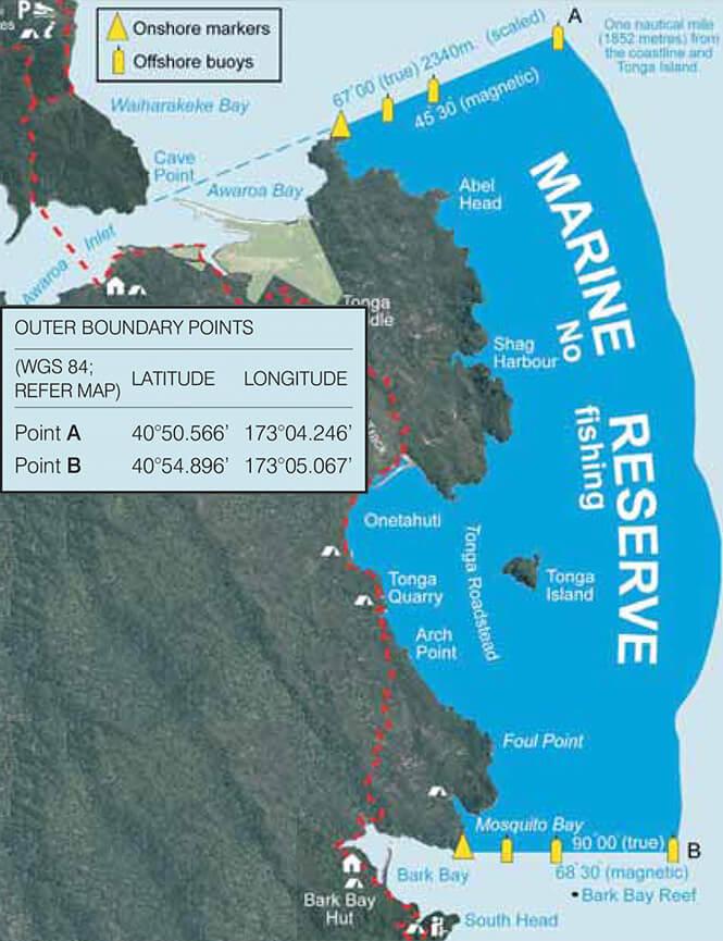 Tonga Island Marine Reserve Snorkeling Map