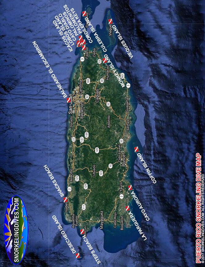 Balneario El Escambron Snorkeling Map