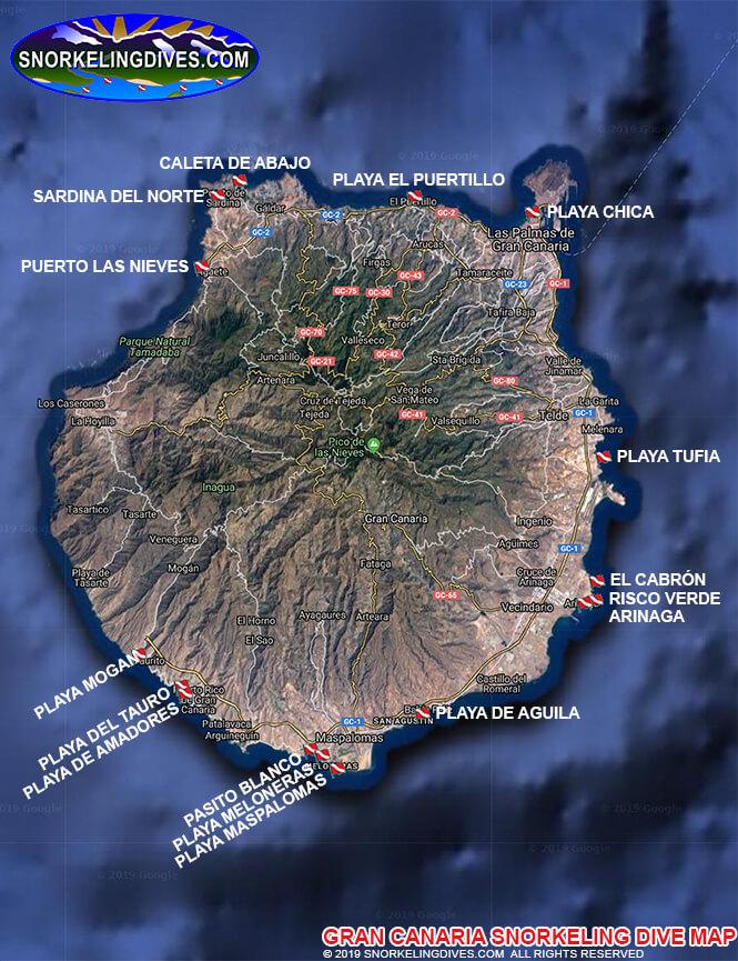 Playa De Las Cateras Snorkeling Map
