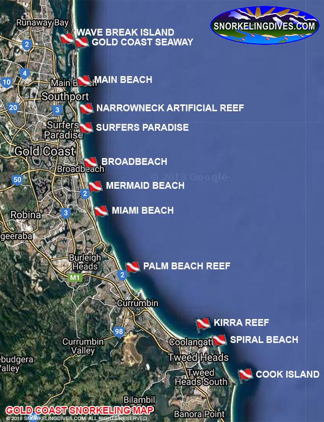 Kirra Reef Snorkeling Map