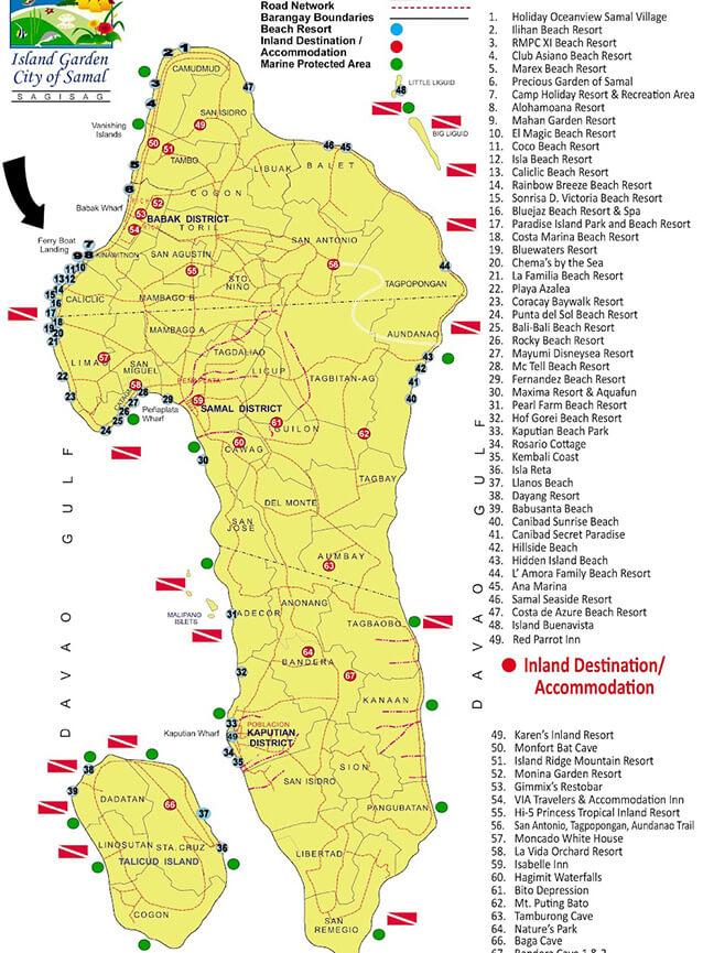 Samal Island Snorkeling Map