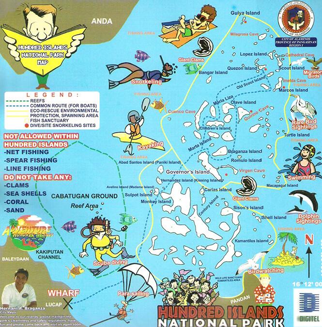 Hundred Islands Snorkeling Map
