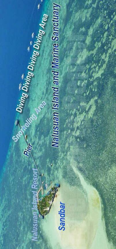 Nalusuan Island Snorkeling Map