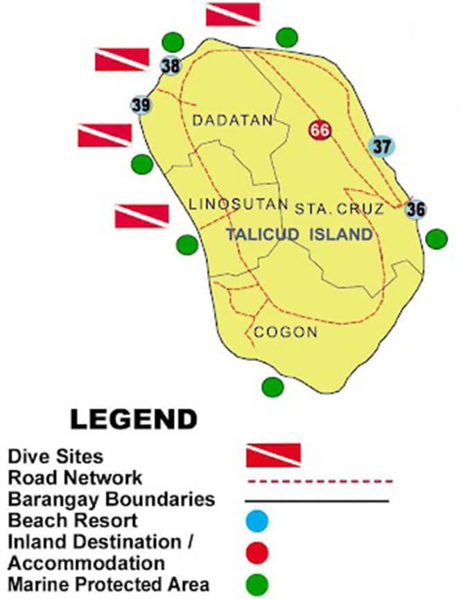 Talikud Island Snorkeling Map