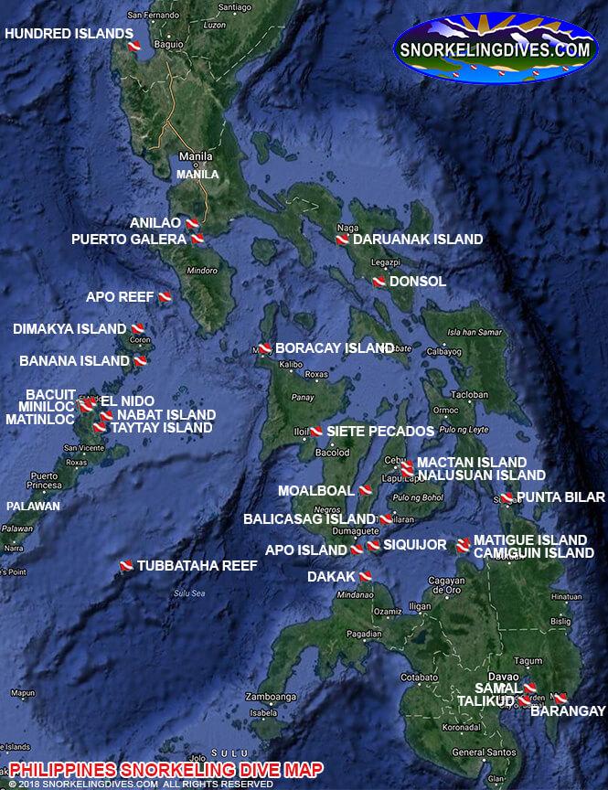 Siete Pecados Islands Snorkeling Map