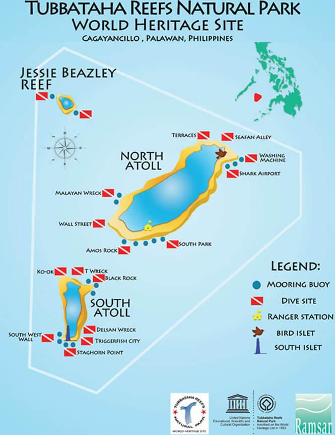 Tubbataha Reef Snorkeling Map