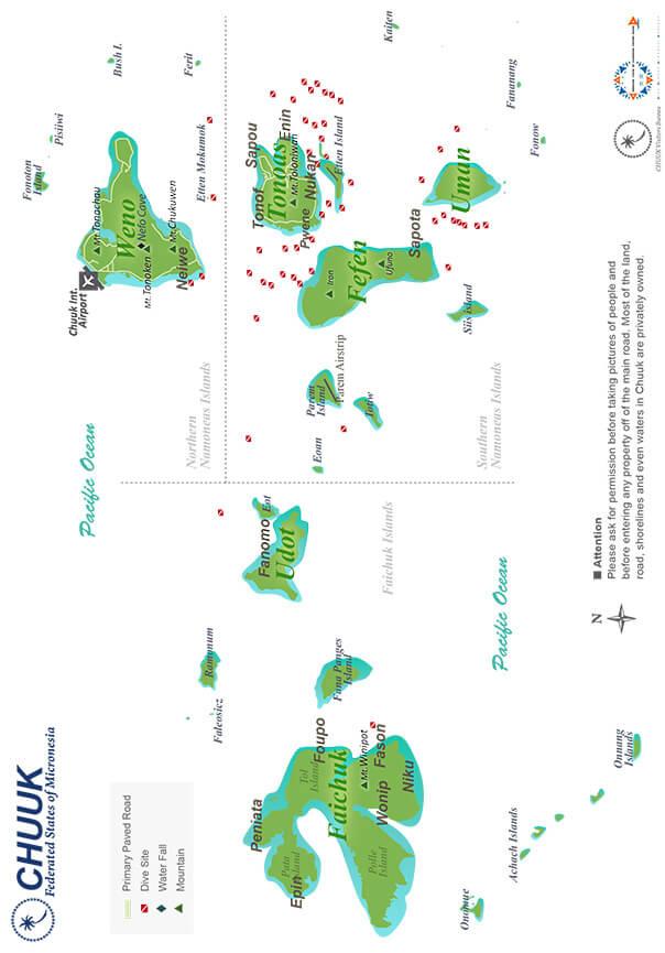 Chuuk Island Snorkeling Map